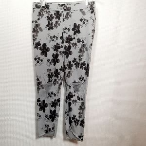 Hue Gray Floral Distressed Jeggings Size L